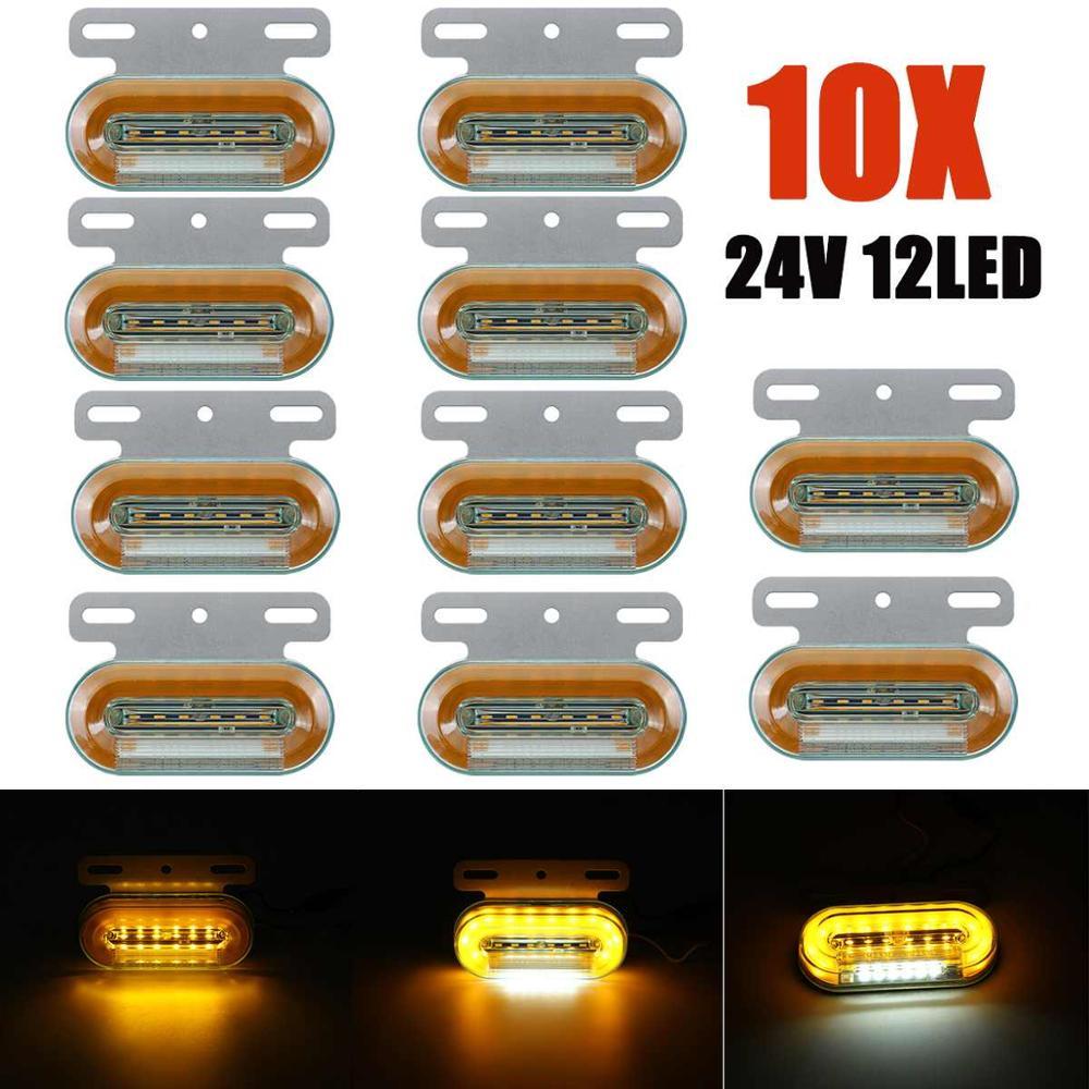 10pcs 24V 12 LED Car Truck Side Marker Lights Car External Lights Signal Indicator Lamp Warning Tail Light 3 Modes Trailer Lorry